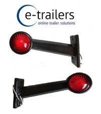 PAIR OF GWAZA LED RED WHITE LENS RUBBER STALK TRAILER LORRY TRACTOR MARKER LAMPS